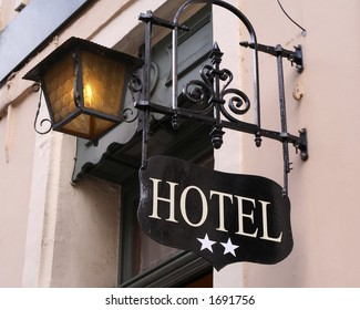 Hotel sign for a two star hotel