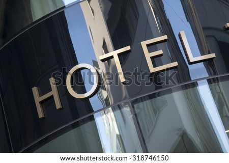 Hotel Sign in Urban Setting