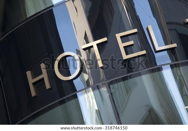 Hotel Sign in Urban Setting