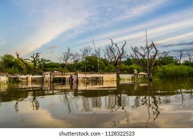 Hotel submerged in lake baringo