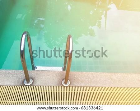 Hotel Swimming Pool Grab Bars Ladder Stock Photo (Edit Now