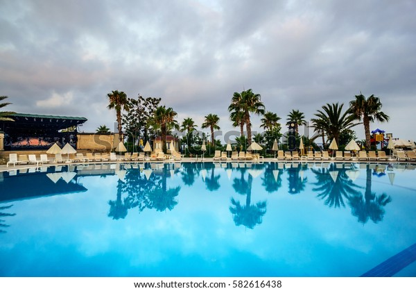 Hotel swimming pool in the Turkey.
