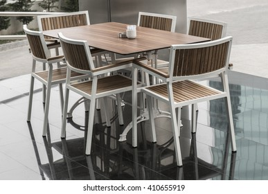 hotel café and table chairs