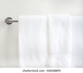 Hotel towels in bathroom
