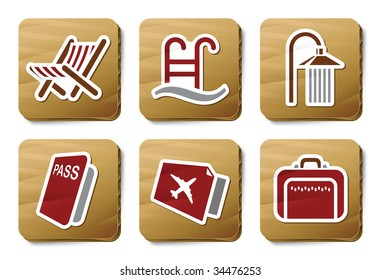 Hotel and Travel icons. Three color icons on cardboard tags.