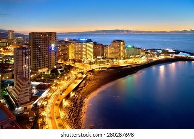 Hotel zone at night, Puerto de la Cruz, Tenerife
