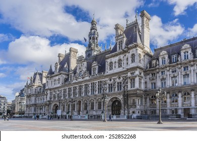 Hotel-de-Ville (City Hall) in Paris - building housing City of Paris's administration. Building was constructed between 1874 -1882, architects Theodore Ballou and Edouard Deperta. France.