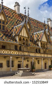 The Hotel-Dieu (Medieval Hospice) in Beaune. Dates from 1443 when it was built to remedy the suffering of the towns poor. Beaune is the wine capital of Burgundy in eastern France.