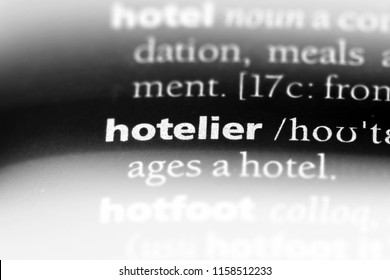 hotelier word in a dictionary. hotelier concept.