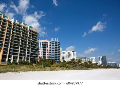 Hotels and condominiums line the white sandy Miami South Beach, Florida, USA.