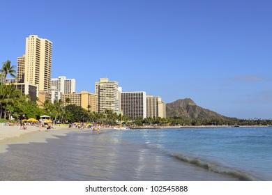Hotels and Diamond Head viewed from Waikiki Beach, Oahu, Hawaii.