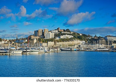 Hotels and marina of the English resort town of Torquay