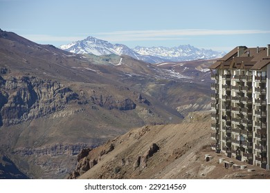 Hotels in the ski resort of Valle Nevado in the Andes mountains close to Santiago, the capital of Chile. Image taken in spring with most of the snow melted.