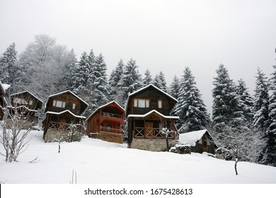 Hotels and snow views in the highlands of the Black Sea in March