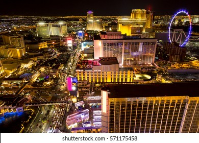 Hotels and strip boulevard of Las Vegas at night