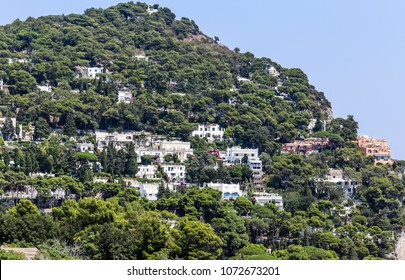 Hotels and villas in Capri. View from Augustus Gardens, Isle of Capri, Italy