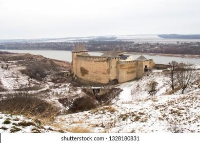 The Hotin Castle in winter. Eastern Europe. Ukraine