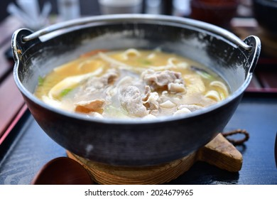 """""""Hoto"""" is a local dish of Yamanashi prefecture. Flat noodles made from wheat flour and vegetables such as pumpkin are simmered together and seasoned with miso."""