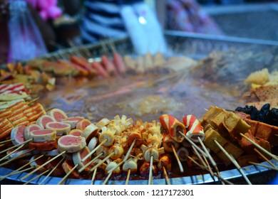Hotpot skewers, malatang, Chinese food, Xinjiang Uyghur delicacies at Kashgar night market