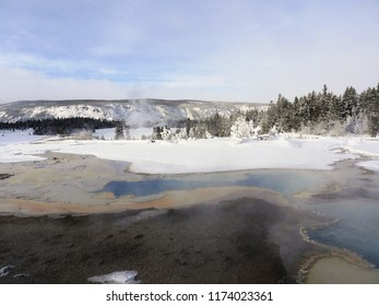 Hots springs in the snow - Yellowstone National Park, USA, in winter
