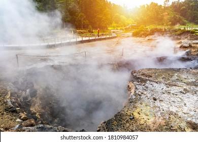 Hotsprings Of The Lake Furnas. Sao Miguel, Azores. Lagoa das Furnas Hotsprings. São Miguel, Azores, Portugal. Steam venting at Lagoa das Furnas hotsprings on Sao Miguel island in the Azores, Portugal.