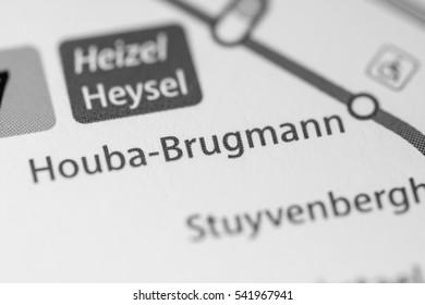 Houba Brugmann Station. Brussels Metro map.