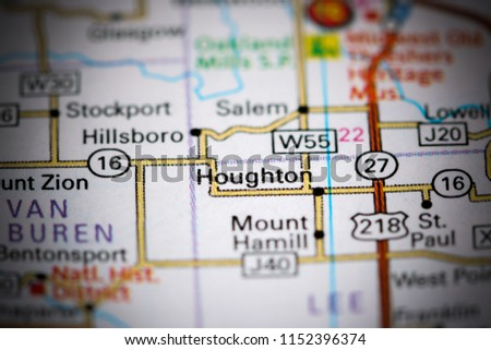 Salem Iowa Map.Houghton Iowa Usa On Map Stock Photo Edit Now 1152396374