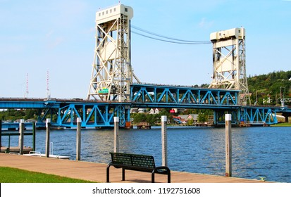 Houghton Michigan - September 24th 2018: A scenic view of the Houghton - Hancock lift bridge over the portage lake.