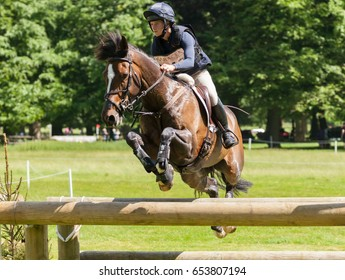 HOUGHTON, NORFOLK/ENGLAND - May 25th 2017: Houghton International Horse Trials 2017 Indiana Limpus riding Bronze Dandylion. Including cross country, eventing, show jumping and dressage