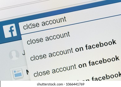 Houilles, France - April 10, 2018:Simulation on the facebook search bar of a user looking for information on closing his account