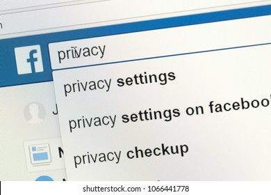 Houilles, France - April 10, 2018:Simulation on the facebook search bar of a user looking for information on privacy and the setting of his user account