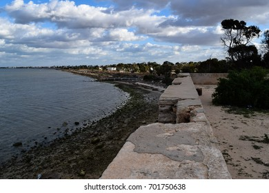Houmt Souk mediterranean sea coast and medieval fortress. Tunisia. North Africa
