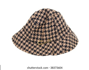 Houndstooth hat with gold accessory pin on the side - path included