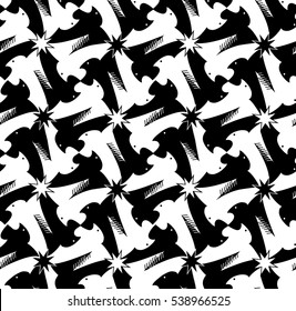 Houndstooth, pied de poule, griffin seamless black and white pattern. Classic Escher style for fabric