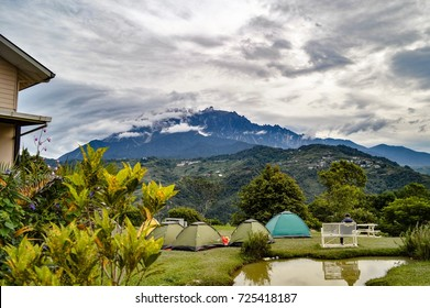 Hounon Ridge Farmstay, a secluded camping site with a view of Mount Kinabalu