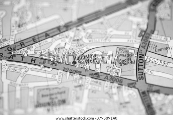Map Of West London Uk.Hounslow West London Uk Map Stock Photo Edit Now 379589140