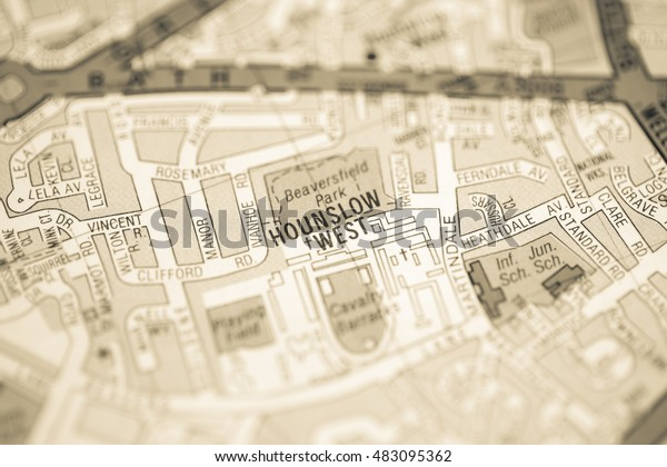 Map Of West London Uk.Hounslow West London Uk Map Miscellaneous Objects Stock Image
