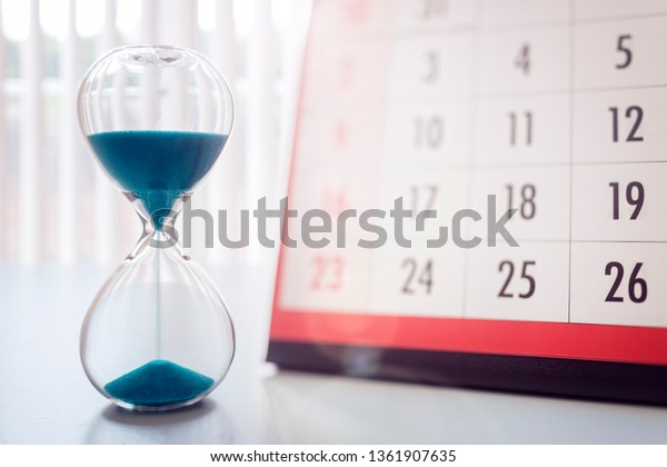 Hour Glass Calendar Concept Time Slipping Stock Photo Edit