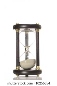 An hourglass against a white background.