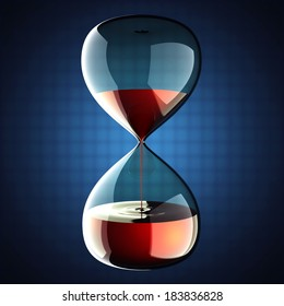 hourglass with dripping liquid