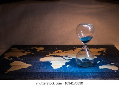 Hourglass and Map with Light Painting
