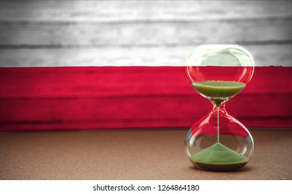 Hourglass on the background of the Poland flag, the concept of time and countries, space for text