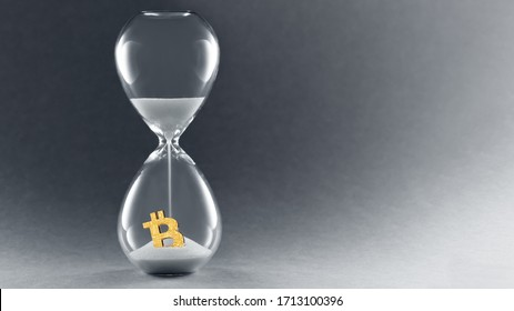 Hourglass on dark background. Concept passing cryptocurrency time. End of Bitcoin currency. Copy space.