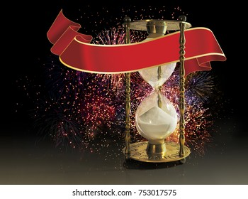 Hourglass with red banner and fireworks