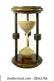 Hourglass with a sand trickle flowing, isolated over white background