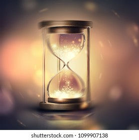 hourglass with shining light on dark background with soft bokeh effect, 3D image