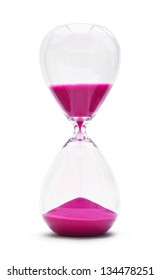 An hourglass showing the sands of time passing cut out on a white background