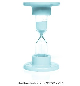 Hourglass for time measurement isolated over white - cool cyanotype