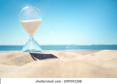 Hourglass time on a beach in the sand with blue sky and copy space