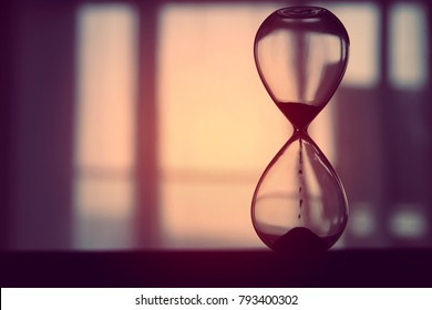 Hourglass as time passing concept for business deadline
